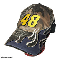 Rare NASCAR Chase JIMMIE JOHNSON #48 Camo FLAMES Youth Size Hat Cap