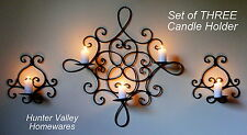 Set of 3 Wrought Iron Candle Holders Rustic Country - Wall 3 cup + Pr 1 cup CW20