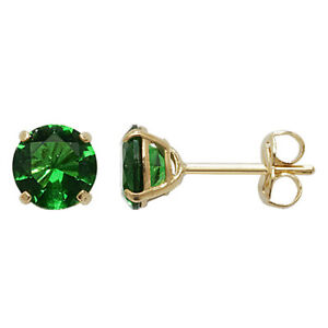Yellow Gold Emerald Earrings Solitaire 375 9 Carat New Boxed