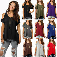 Plus Size Women Cold Shoulder Summer Loose T-shirts Blouse Casual Tee Baggy Tops