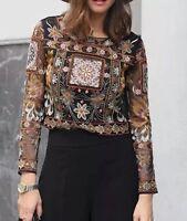 Rare! ZARA Embroidered Crop Top Blouse Beaded Embellished Medium M