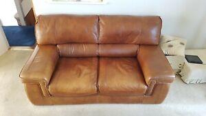 G Plan 2 seater tan leather sofa