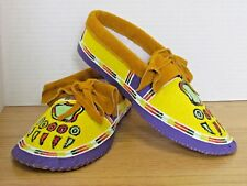 STUNNING BEAR CLAW FULL BEAD MOCCASINS, YELLOW MULTICOLOR 11 INCHES, HAND MADE