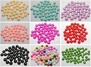 200 Acrylic Half Pearl Flatback Round Cabachons Bead 10mm Scrapbook Color Choice