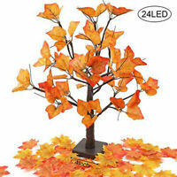 24 LED Lighted Tabletop Fall Maple Tree With Warm White Xmas Decor Lights 60CM