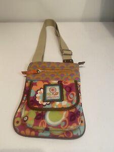 Lily Bloom Multi-Color Floral & Geometric Circles Crossbody Messenger Bag