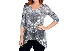 ONE WORLD BLACK WHITE BLUE PRINTED EMBELLISHED 3/4 SLEEVE HI-LO TOP PLUS Sz 3X