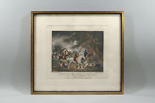 LITHO ANCIENNE, SIGNEE G. MORLAND, chevaux, cavaliers, chasse à courre, vénerie