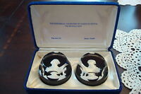 Franklin Mint / Baccarat Crystal Pair of Cameos, 1975 in box