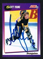 Scott Young #287 signed autograph 1991-92 Score Hockey USA Release Card