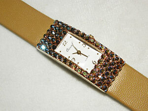 GOLD TAN WATCH AURORA BOREALIS AUSTRIAN CRYSTALS CHRISTMAS GIFT LEATHER BAND NEW