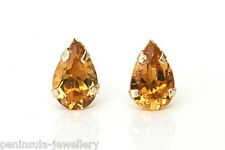 9ct Gold Citrine Teardrop studs earrings Gift Boxed Made in UK