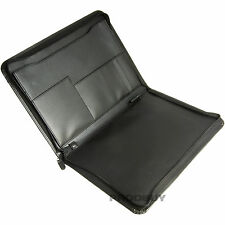 Black A4 Zipped Conference Folder Business Document Portfolio Faux Leather Case