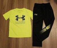 Lot Under Armour Boys Athletic Black Tapered  Pants Sweatpants & logo Shirt 4 5