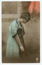 c 1920 French Deco Glamour PRETTY LADY w/ GUITAR acoustic photo postcard