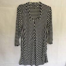 Vince Camuto Women's 1X White/Black Astro Stripe Pleated V-Neck Top #9299653