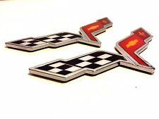 X2 CORVETTE PIECES Cross Flags car CHEVROLET TRUCK EMBLEM sign DECAL logo .07