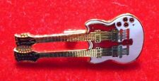 Double neck guitar / 90's Cloisonne pin-on  / New cond. 1/4 x 1 1/2""