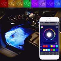 4 x 9LED APP Control Colorful RGB Car Interior Floor Atmosphere Light Strip Fad.