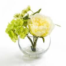 Künstliche Hortensie TABEA im Glas creme-grün 15cm Kunstblume // Deko Blume