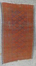 Antique Tribal Oriental Rug 1930s Worn Nomadic Carpet Vegetal Dyes Handmade OLD