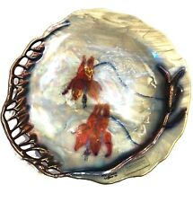 """Glass Decorative Art Plate """"Wild Columbine"""" By Q Spicer 1994, Signed"""