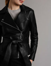 M&S AUTOGRAPH Leather Biker Ladies' Jacket with Belt PRP £249