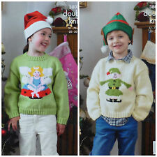 KNITTING PATTERN Childrens Christmas Jumper Fairy or Elf DK King Cole 3807
