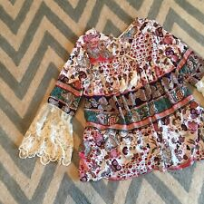 S New ANTHROPOLOGIE Women's Floral Print Lace Sleeve Peasant Blouse Top SMALL