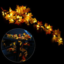 40 LED Lighted Leaf Harvest Fall Leaves Garland Lights String Thanksgiving Decor