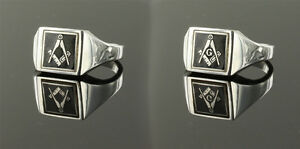Masonic ring Solid Silver Square and compass Reversible - Black