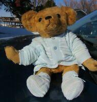 "VINTAGE MOHAIR TEDDY BEAR BABY DOLL BLUE SWEATER TENDER TREASURES ARTIST 18"""
