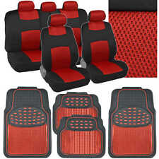 Red Knit Mesh on Black Polyester Seat Covers Aluminum Rubber Floor Mats