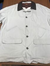 Noatak Outdoor Sport Coat Leather Trim Xl Long Sleeve Jacket Beige Brown