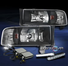 1994-2001 DODGE RAM PICKUP BLACK CRYSTAL HEAD LIGHT LAMP W/DRL SIGNAL+6000K HID