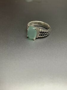 David Yurman Sterling Silver Petite Wheaton Chalcedony & Diamond Ring Size 7