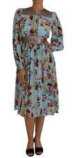 DOLCE & GABBANA Dress Blue Silk Labrador Dog Roses Print IT40/US6 / S