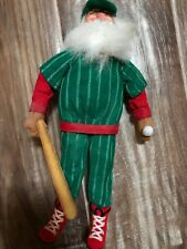 Vintage Standing Santa -Hanging Ornament Full Baseball Uniform #24 Handpainted