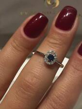 CLEARANCE SALE 18CT WHITE GOLD 0.33CT DIAMOND AND BLUE SAPPHIRE HALO RING LCL046