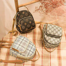 New Synthetic leather backpack small single-shoulder crossbody bag plaid printed