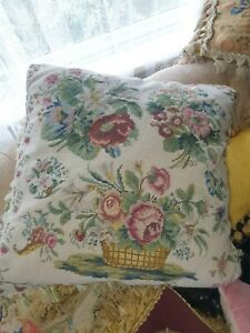 Victorian Needlework sampler cushion pillow c1890s