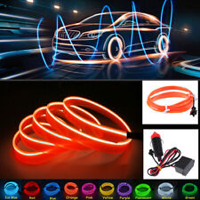 3m EL Wire Car Auto Interior Styling Moulding Trim LED Strip DIY Line +Adapter