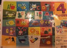 4-pk Patch Puzzles Ages 3 & Up Alphabet Letters Numbers Shapes Colors Birds Fish