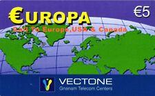 1134 SCHEDA TELEFONICA INTERNAZIONALE USATA EUROPA VECTONE 5 25/12/2005