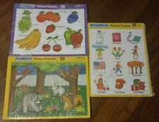 *~*LOT OF 3 VINTAGE PUZZLE PATCH 25 PC. PICTURE TRAY PUZZLES - USA MADE*~*