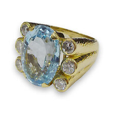 AUTHENTIC DAVID WEBB 18K Hammered Yellow Gold Aquamarine Diamond Ring SZ 7.5