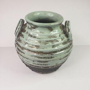 Magnolia Lane Collection Green Brown Clay Vase Jar Pot with Handles