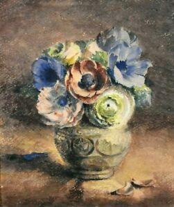Tableau ancien Nature Morte aux Fleurs école française Signé fin XIXème