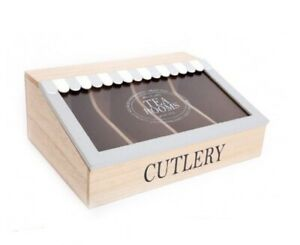Wooden - Canopy Cutlery/Tableware Box - 4 Compartments