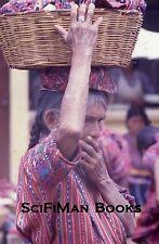 Vintage 35mm Slide Guatemala Market Scene Woman Hat Basket Costume Fashion 1970s